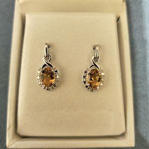Sterling Citrine earrings w/ diamond accents